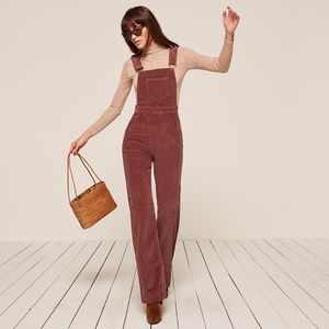 reformation • rust overall corduroy wide jumpsuit